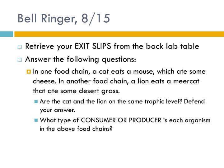 Bell Ringer, 8/15
