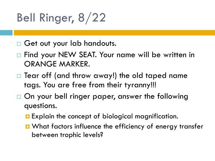 Bell Ringer, 8/22
