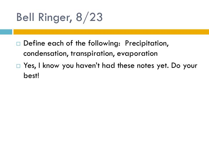 Bell Ringer, 8/23