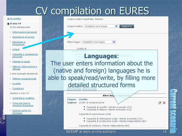 CV compilation on EURES