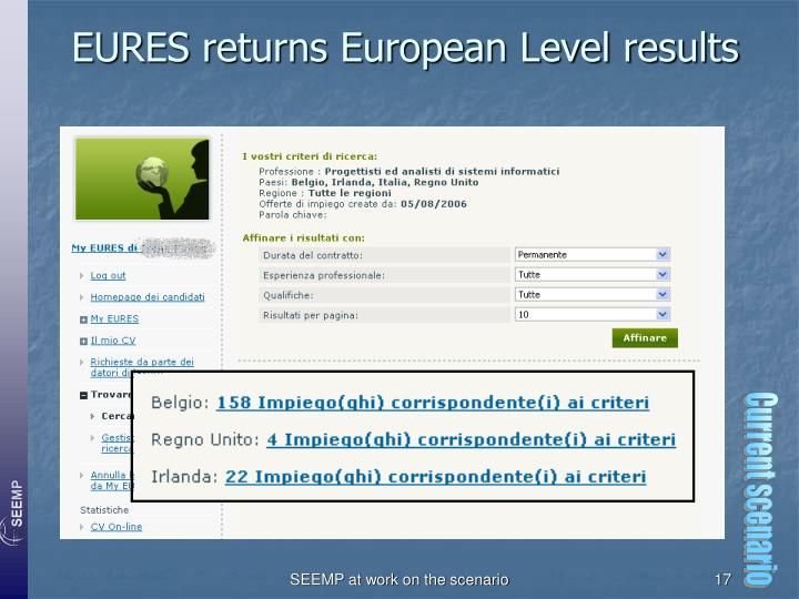 EURES returns European Level results