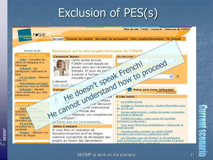 Exclusion of PES(s)