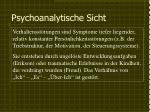 psychoanalytische sicht