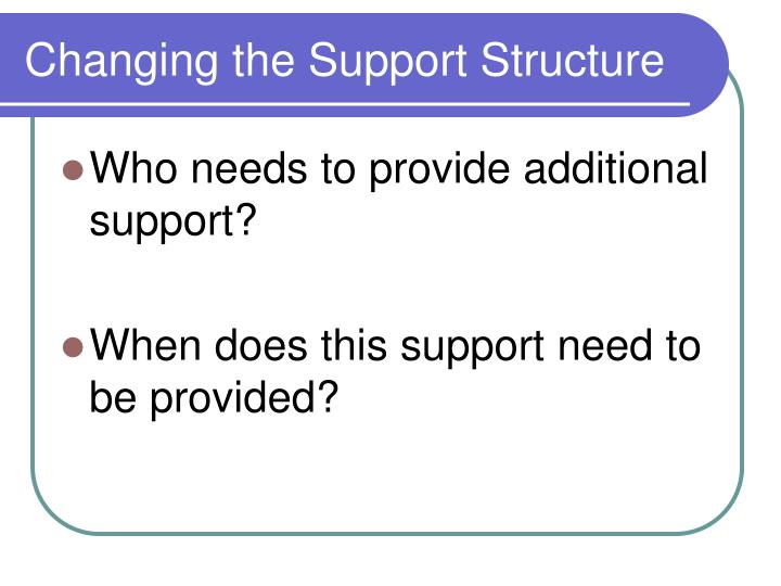Changing the Support Structure