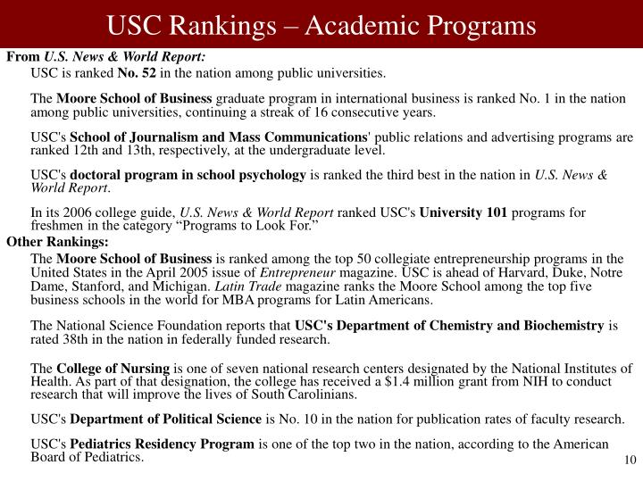 USC Rankings – Academic Programs