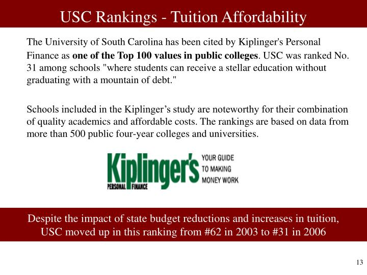 USC Rankings - Tuition Affordability