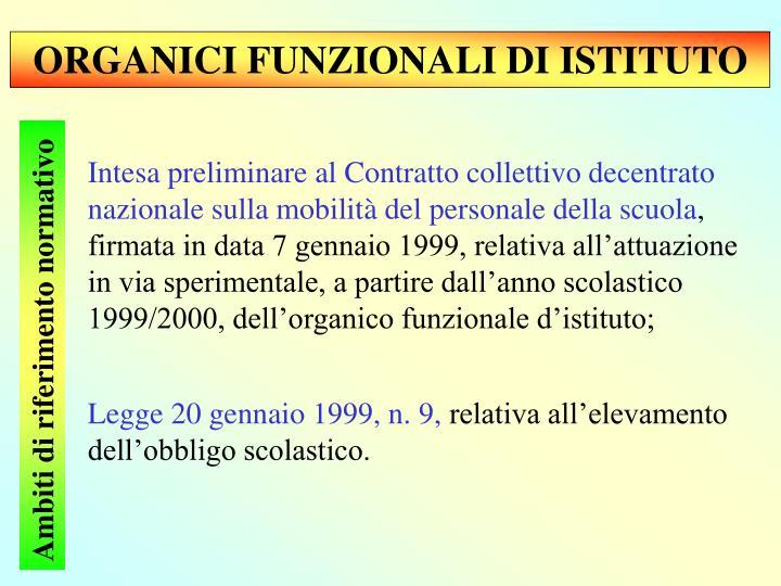 ORGANICI FUNZIONALI DI ISTITUTO