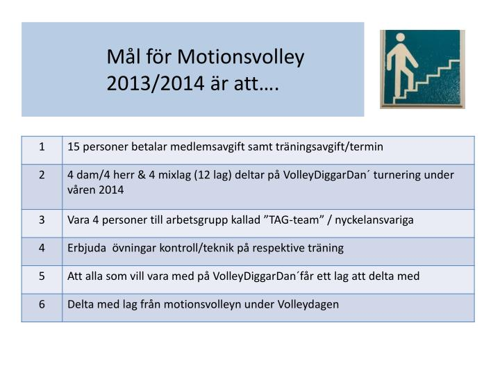 Mål för Motionsvolley