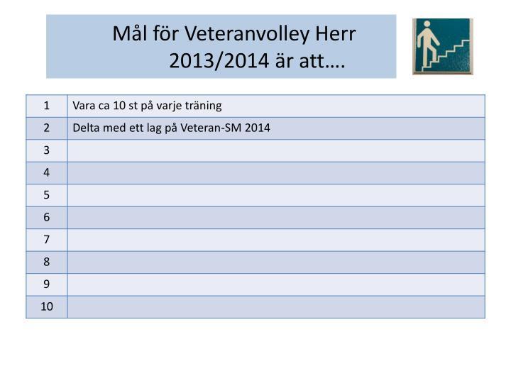 Mål för Veteranvolley Herr