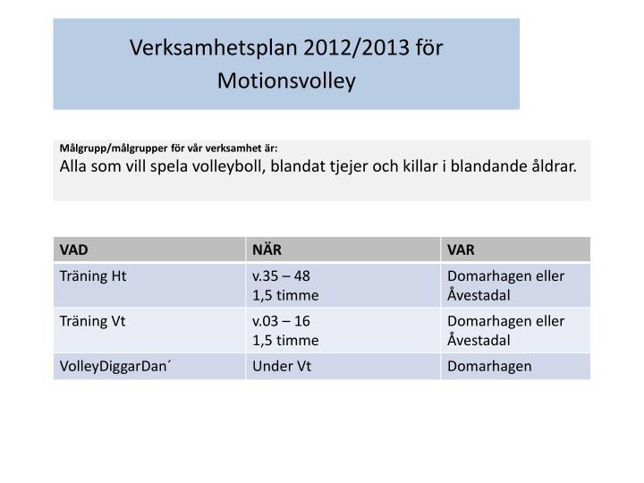 Verksamhetsplan 2012/2013 för