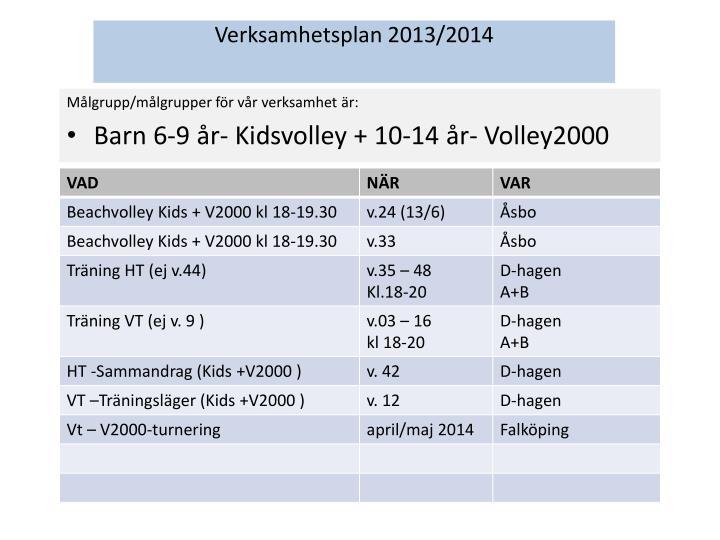 Verksamhetsplan 2013/2014
