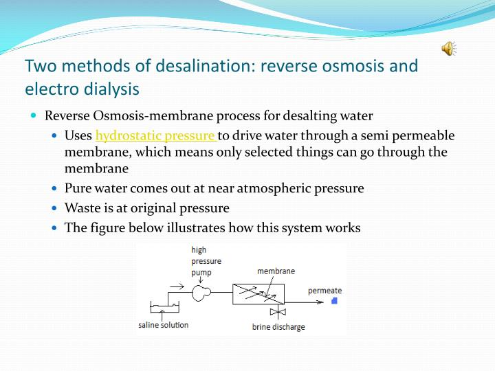 Two methods of desalination: reverse osmosis and electro dialysis
