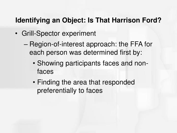Identifying an Object: Is That Harrison Ford?