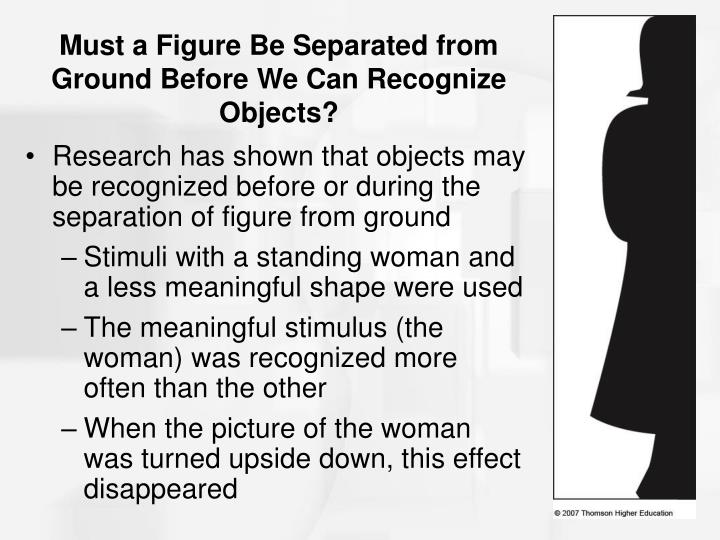 Must a Figure Be Separated from Ground Before We Can Recognize Objects?