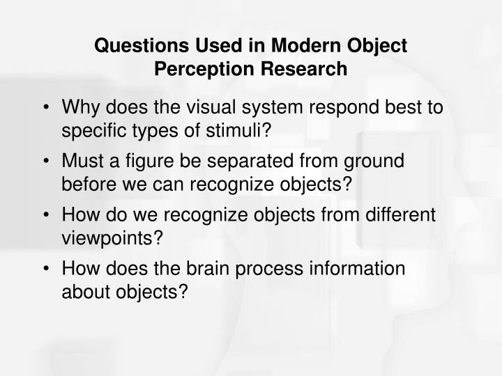 Questions Used in Modern Object Perception Research