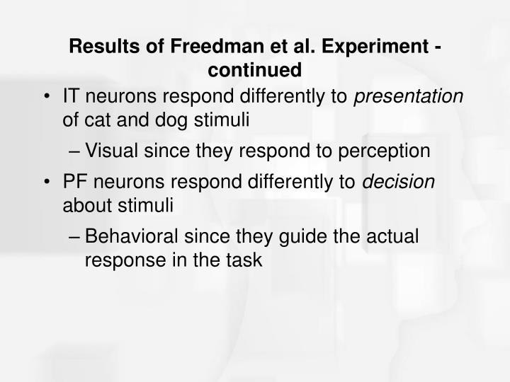 Results of Freedman et al. Experiment - continued