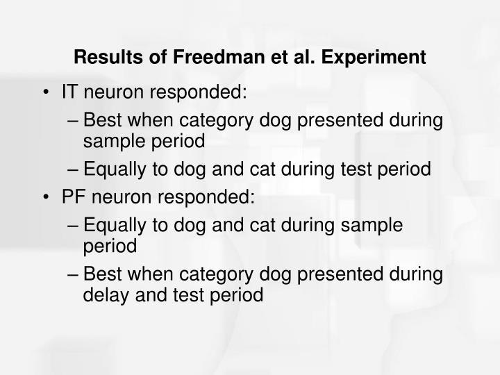 Results of Freedman et al. Experiment