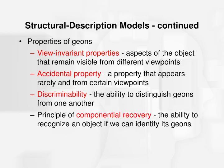 Structural-Description Models - continued