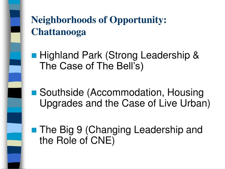 Neighborhoods of Opportunity: Chattanooga