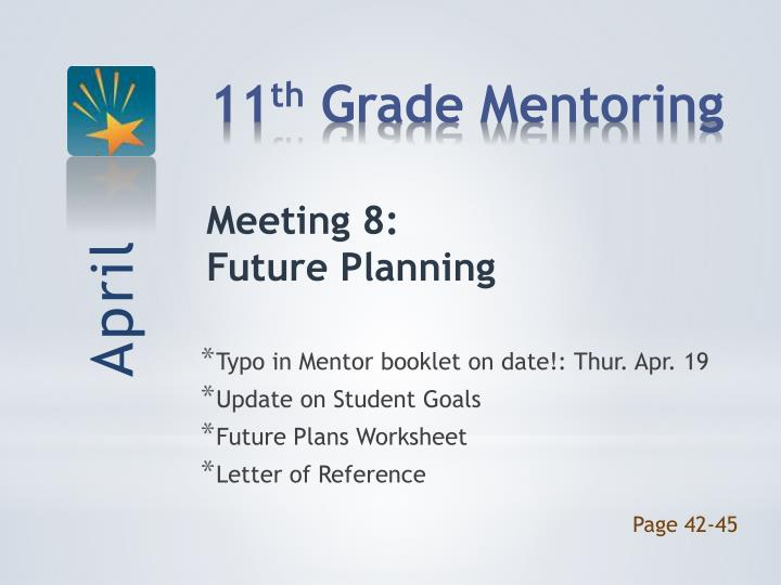 Typo in Mentor booklet on date!: Thur. Apr. 19