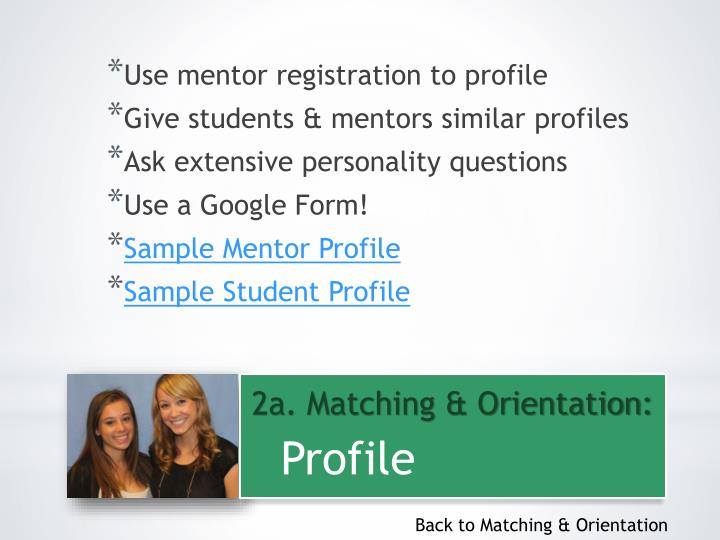 Use mentor registration to profile