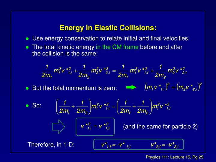 Energy in Elastic Collisions: