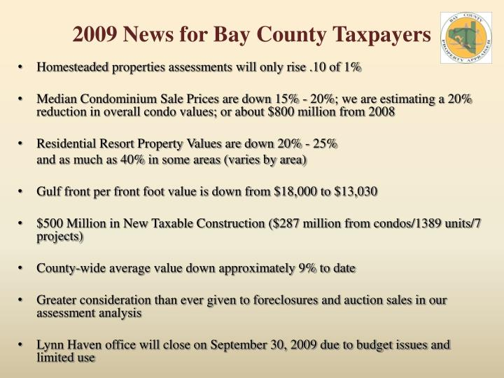 2009 News for Bay County Taxpayers