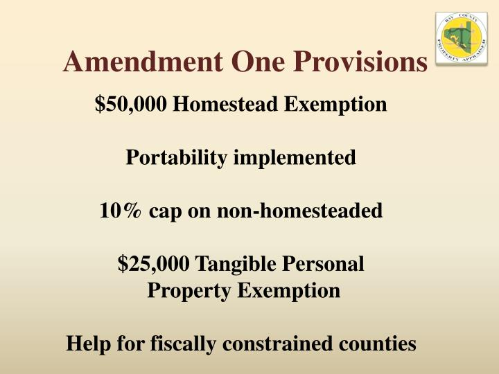 Amendment One Provisions
