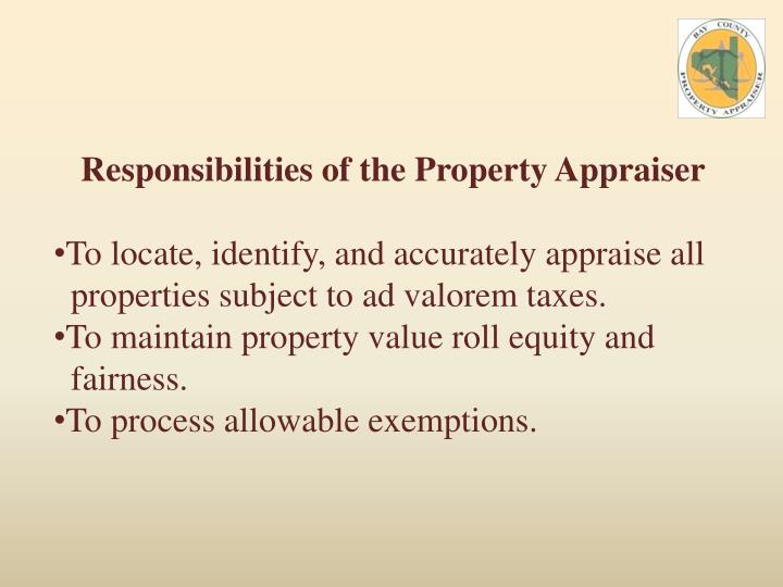 Responsibilities of the Property Appraiser