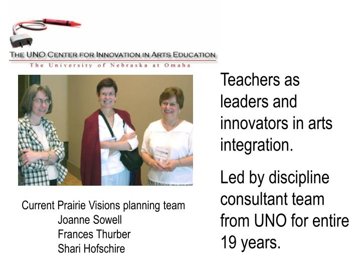Teachers as leaders and innovators in arts integration.
