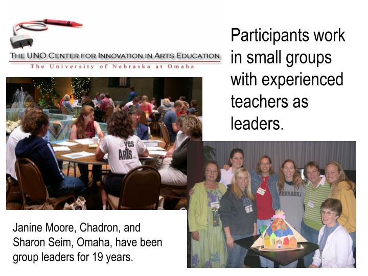 Participants work in small groups with experienced teachers as leaders.