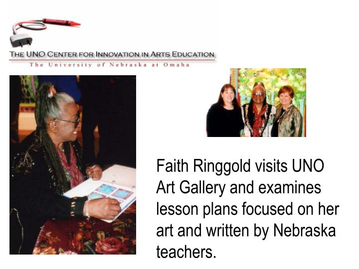 Faith Ringgold visits UNO Art Gallery and examines lesson plans focused on her art and written by Nebraska teachers.