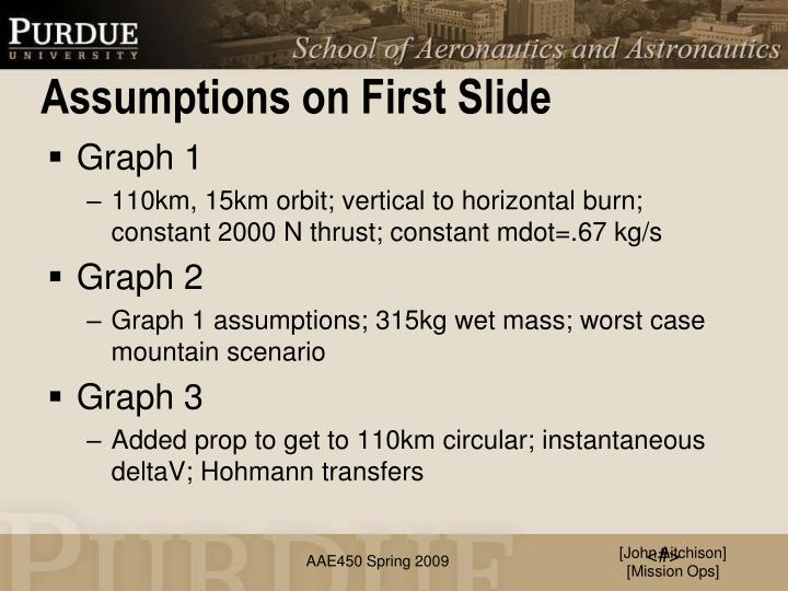 Assumptions on First Slide