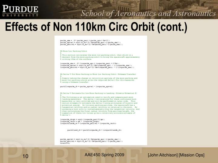 Effects of Non 110km Circ Orbit (cont.)