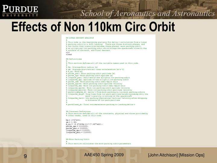 Effects of Non 110km Circ Orbit