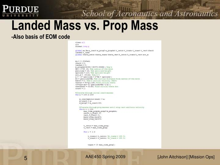 Landed Mass vs. Prop Mass