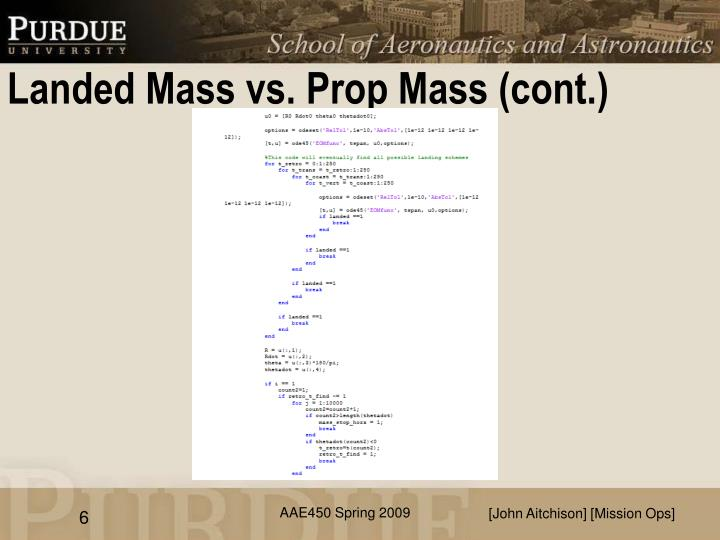 Landed Mass vs. Prop Mass (cont.)