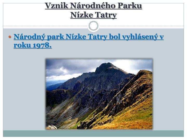 Vznik Národného Parku