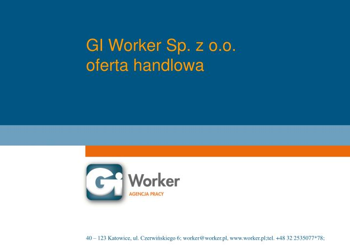 Gi worker sp z o o oferta handlowa