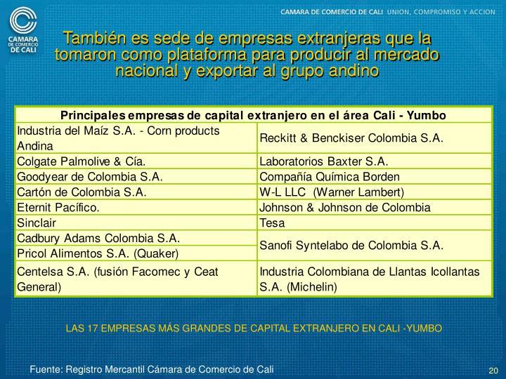 Tambin es sede de empresas extranjeras que la tomaron como plataforma para producir al mercado nacional y exportar al grupo andino