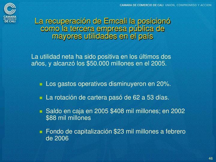 La recuperacin de Emcali la posicion como la tercera empresa pblica de mayores utilidades en el pas