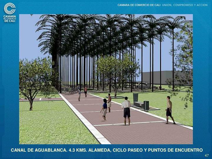 CANAL DE AGUABLANCA. 4.3 KMS. ALAMEDA, CICLO PASEO Y PUNTOS DE ENCUENTRO