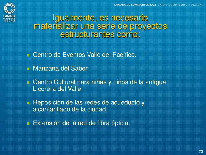 Igualmente, es necesario materializar una serie de proyectos estructurantes como: