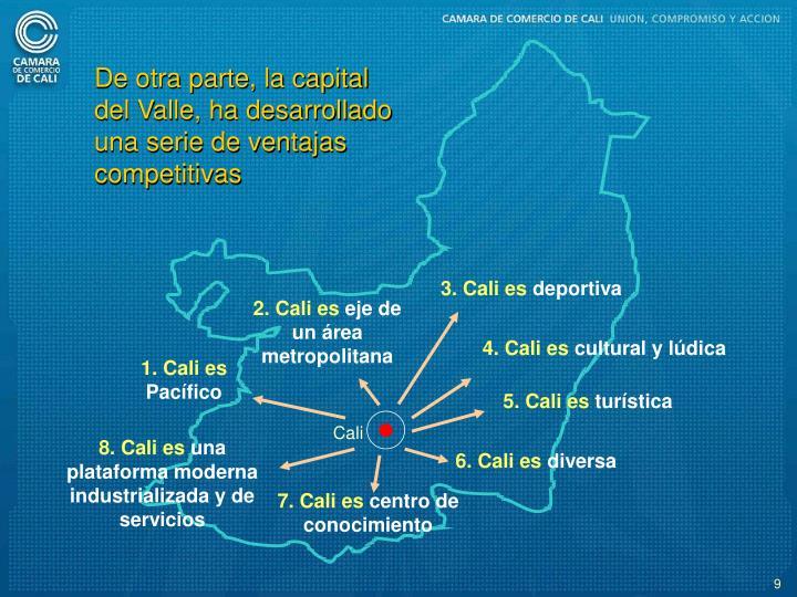 De otra parte, la capital del Valle, ha desarrollado una serie de ventajas competitivas