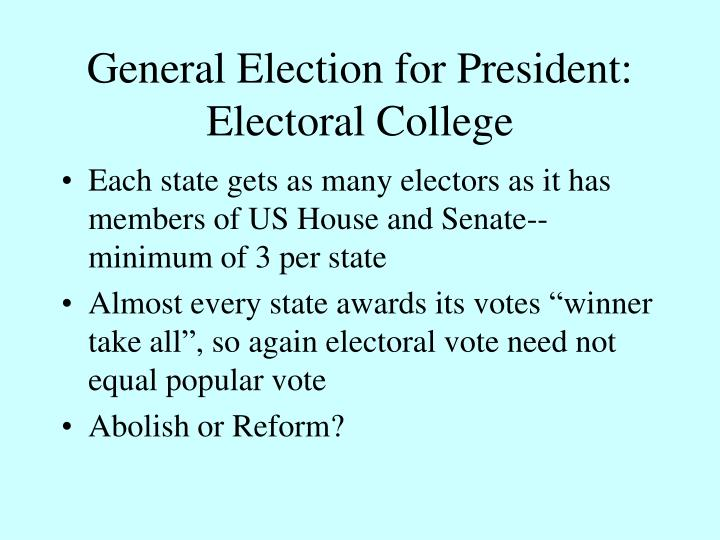 General Election for President: Electoral College