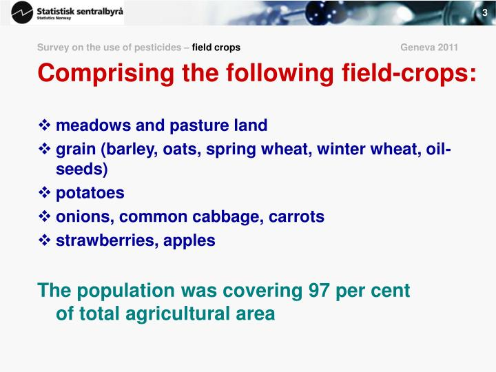 Survey on the use of pesticides field crops geneva 2011