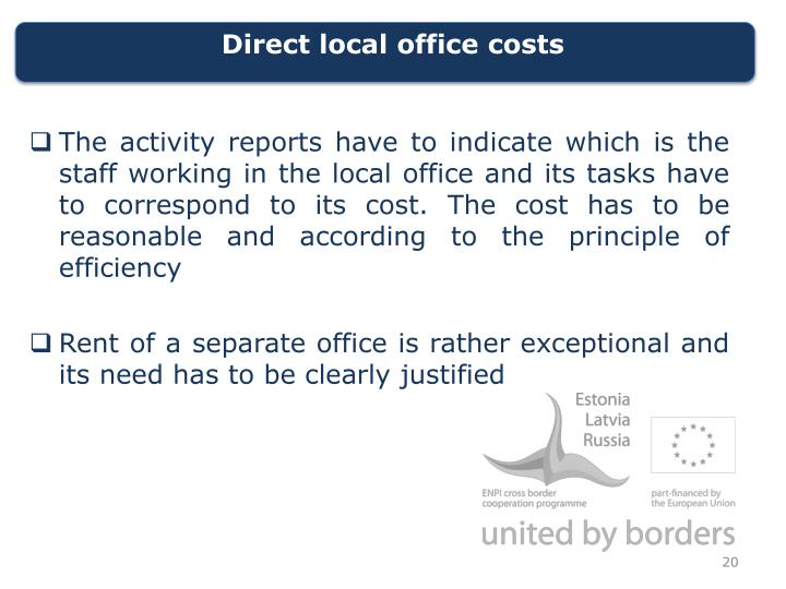 Direct local office costs