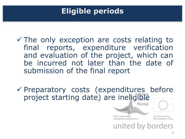 Eligible periods1