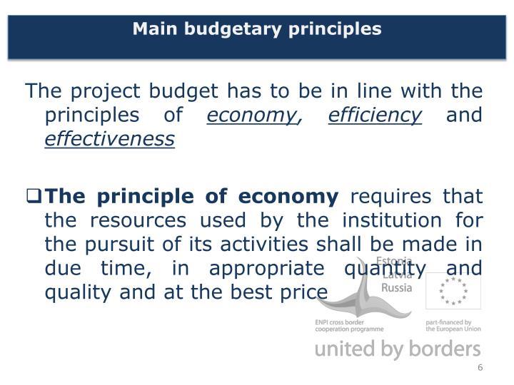 Main budgetary principles