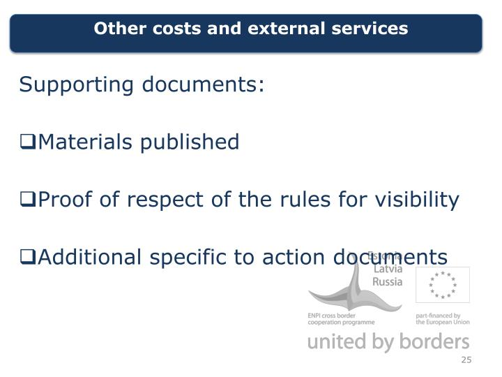 Other costs and external
